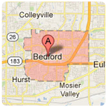 Bedford texas roof repair service area